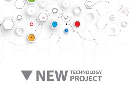 hexágono abstracta de fondo. diseño de tecnología poligonal. vector futurista digital caos Ilustración de vector