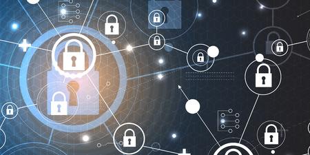 koncepcji bezpieczeństwa technologii. Nowoczesne bezpieczeństwo cyfrowe tła. System ochrony