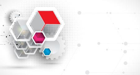 Abstract hexagon background. Technology polygonal design. Digital futuristic minimalism. Vector Illustration