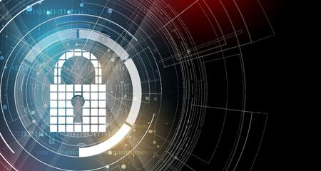 Cybersicherheit und Information oder Netzwerkschutz. Zukünftige Cyber-Technologie-Web-Services für Business-und Internet-Projekt Standard-Bild - 78765388