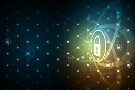 La cybersécurité et l'information ou la protection du réseau. Futurs services Web de cyber-technologie pour les projets commerciaux et Internet Banque d'images - 79235659