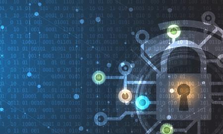 サイバー セキュリティと情報やネットワークの保護。ビジネスやインターネットのプロジェクトの将来のサイバー技術 web サービス 写真素材 - 79622809