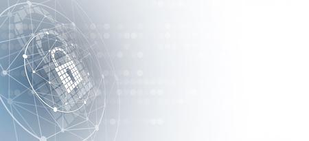 Cyber beveiliging en informatie- of netwerkbeveiliging. Toekomstige cybertechnologie webdiensten voor zakelijke en internetprojecten