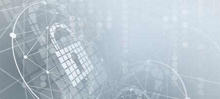 Seguridad cibernética e información o protección de red. Futuros servicios web de tecnología cibernética para proyectos empresariales e internet Ilustración de vector