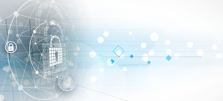 サイバー セキュリティと情報やネットワークの保護。ビジネスやインターネットのプロジェクトの将来のサイバー技術 web サービス 写真素材 - 79646735