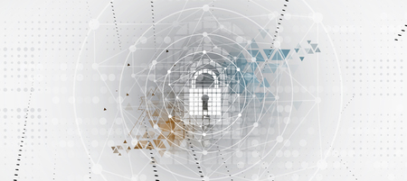 internet business: Cyber security and information or network protection. Future cyber technology web services for business and internet project Illustration