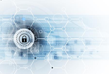 Cyber-Sicherheit und Information oder Netzwerkschutz. Zukünftige Cyber-Technologie-Web-Services für Business-und Internet-Projekt Illustration