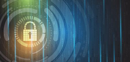 Cyber-Sicherheit und Information oder Netzwerkschutz. Zukünftige Cyber-Technologie-Web-Services für Business-und Internet-Projekt Vektorgrafik