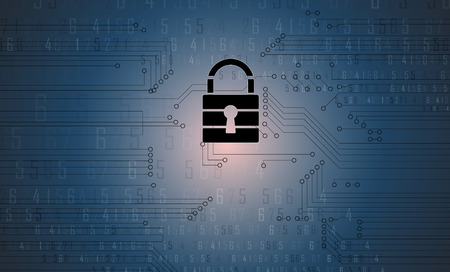 digital background: Cyber security and information or network protection. Future cyber technology web services for business and internet project Illustration
