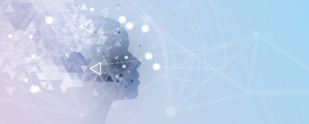 Resumen de inteligencia artificial. Fondo web de tecnología. Concepto virtual Ilustración de vector