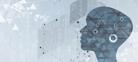 초록 인공 지능. 기술 웹 배경입니다. 가상 개념