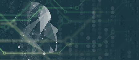 Abstrakte Künstliche Intelligenz . Technologie Web-Konzept . Virtuelles Konzept Standard-Bild - 88260901