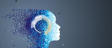 Streszczenie Sztuczna inteligencja. Tło sieci technologii. Wirtualna koncepcja Ilustracje wektorowe