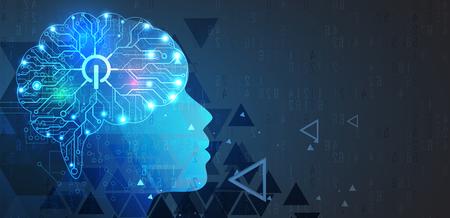 Streszczenie Sztuczna inteligencja. Technologia sieci web tło. Wirtualna koncepcja Ilustracje wektorowe