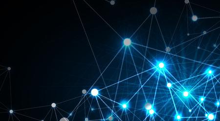 Concept de réseau neuronal, cellules connectées avec des liens, processus de haute technologie, illustration de fond abstrait. Vecteurs