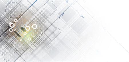Digital technology world card design template.