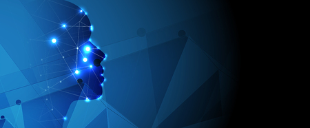 Abstracte Kunstmatige intelligentie. Technologie web achtergrond. Virtueel concept
