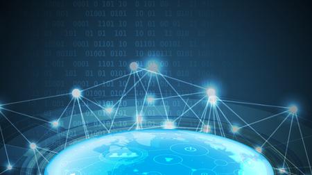 Digital technology world. Business virtual concept illustration. Çizim