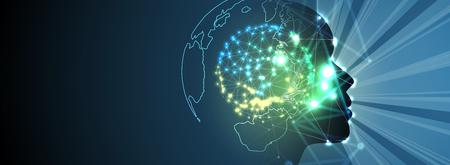 Resumo Artificial intelligence. Fundo de web de tecnologia. Conceito virtual Ilustración de vector