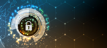 Segurança cibernética e informações ou proteção de rede. Futuros serviços web de tecnologia cibernética para negócios e projeto de internet.
