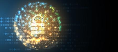 Segurança cibernética e informações ou proteção de rede. Serviços futuros da web de tecnologia cibernética para projetos de negócios e internet Ilustración de vector