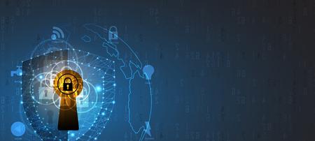 技術セキュリティの概念。現代の安全デジタル背景。保護システム