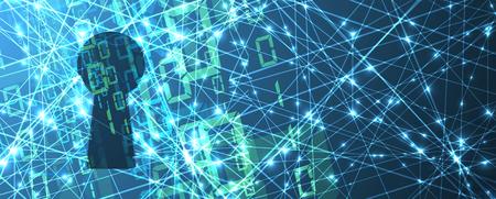 사이버 보안 및 정보 또는 네트워크 보호. 비즈니스 및 인터넷 프로젝트를위한 미래의 사이버 기술 웹 서비스