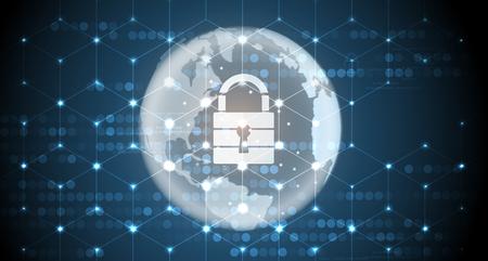 サイバーセキュリティと情報またはネットワーク保護。ビジネスおよびインターネットプロジェクトのための将来のサイバーテクノロジーウェブサービス 写真素材 - 95206841