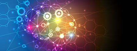 Streszczenie Technologia z biegami w kolorowym tle Koncepcja wirtualna