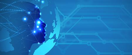 Streszczenie Sztuczna inteligencja. Technologia sieci web tło. Wirtualna koncepcja