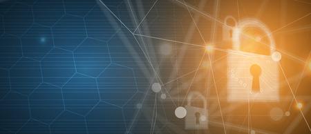 サイバーセキュリティと情報またはネットワーク保護。ビジネスおよびインターネットプロジェクト向けの今後のサイバーテクノロジーウェブサービス 写真素材 - 100935182