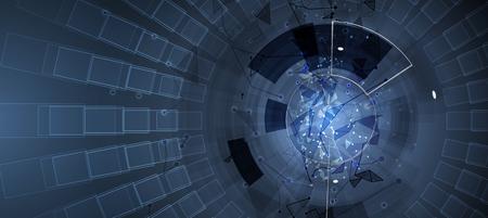 Neuraal netwerk concept. Verbonden cellen met links. Geavanceerd technisch proces. Abstracte futuristische achtergrond Vector Illustratie