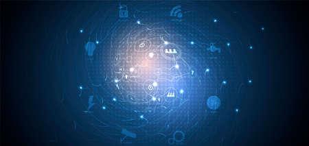 Koncepcja sieci neuronowej. Połączone komórki z linkami. Proces wysokiej technologii. Streszczenie futurystyczne tło