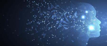 Künstliche Intelligenz. Technologie Webhintergrund. Virtuelles Konzept Vektorgrafik