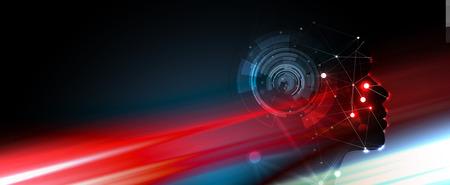 Abstrakte künstliche Intelligenz. Technologie-Web-Hintergrund. Virtuelles Konzept Vektorgrafik