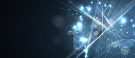 Resumen Inteligencia artificial. Fondo de tecnología web. Concepto virtual