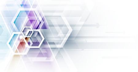 Fondo astratto di esagono. Design poligonale tecnologico. Minimalismo futuristico digitale. Vettore Vettoriali