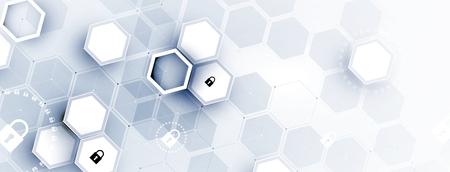 Cybersecurity e protezione delle informazioni o della rete. Servizi web di tecnologia informatica del futuro per progetti aziendali e Internet Vettoriali