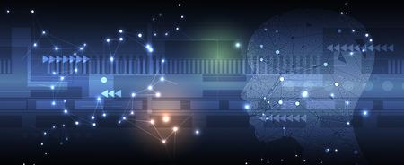 Konzeptionelle Technologieillustration der künstlichen Intelligenz. Abstrakter futuristischer Hintergrund