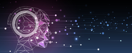 Conceptual technology illustration of artificial intelligence. Abstract futuristic background Иллюстрация