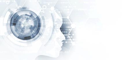 Ilustración de tecnología conceptual de inteligencia artificial. Fondo futurista abstracto Ilustración de vector