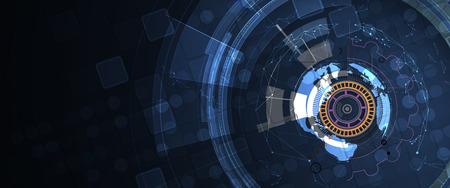 Futuristic technology interface with geometric shapes  イラスト・ベクター素材