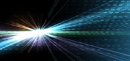Bajty kodu binarnego biegną przez sieć. Streszczenie futurystyczna syberspace. Nowoczesna technologia tło Ilustracje wektorowe