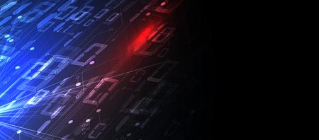 Byte di codice binario attraversano la rete. Syberspace futuristico astratto. Sfondo di tecnologia moderna Vettoriali