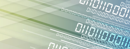Bytes of binary code run through network. Abstract futuristic syberspace. Modern Technology background Vector Illustration
