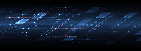 Abstract tech background. Futuristic technology interface with geometric shapes Vektorové ilustrace