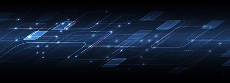 Streszczenie technika tło. Futurystyczny interfejs technologii o geometrycznych kształtach Ilustracje wektorowe
