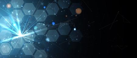 Fondo abstracto del hexágono. Tecnología de diseño poligonal. Minimalismo futurista digital. Vector Ilustración de vector