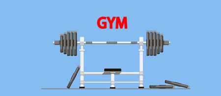 Gym equipment. Barbell with weights. Flat style illustration