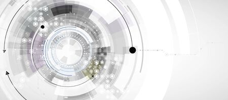 Abstract tech background. Futuristic technology interface with geometric shapes Ilustração Vetorial